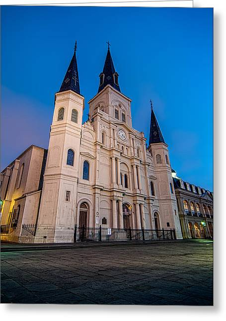 Urban Greeting Cards - St. Louis Cathedral at twilight Greeting Card by Andy Crawford