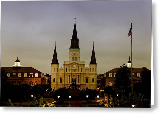 Louisiana Pyrography Greeting Cards - St. Louis Cathedral cropped Greeting Card by Steven Carson
