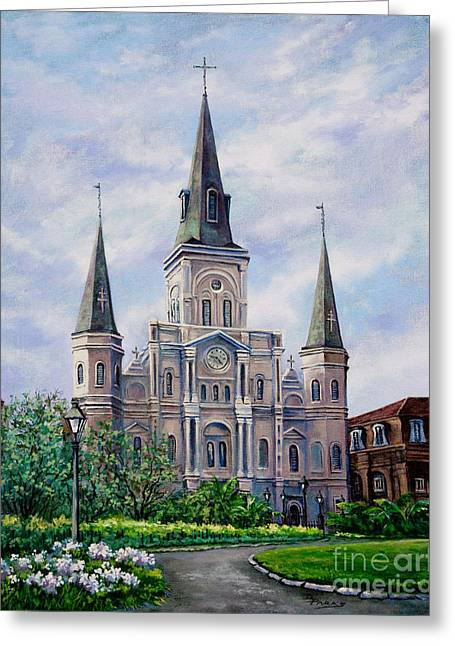 Religious Paintings Greeting Cards - St. Louis Cathedral Greeting Card by Dianne Parks