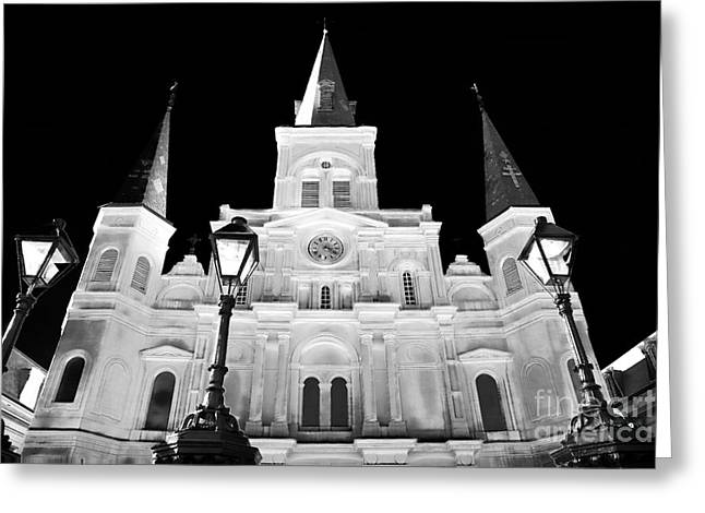 St. Louis Artist Greeting Cards - St. Louis Cathedral Drama Greeting Card by John Rizzuto