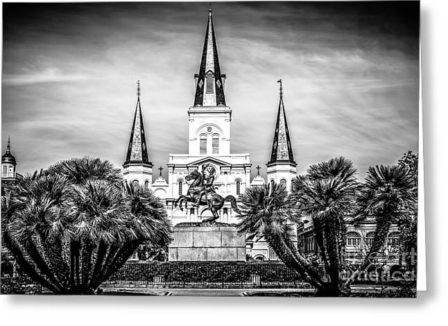 Louisiana Greeting Cards - St. Louis Cathedral in New Orleans Black and White Picture Greeting Card by Paul Velgos