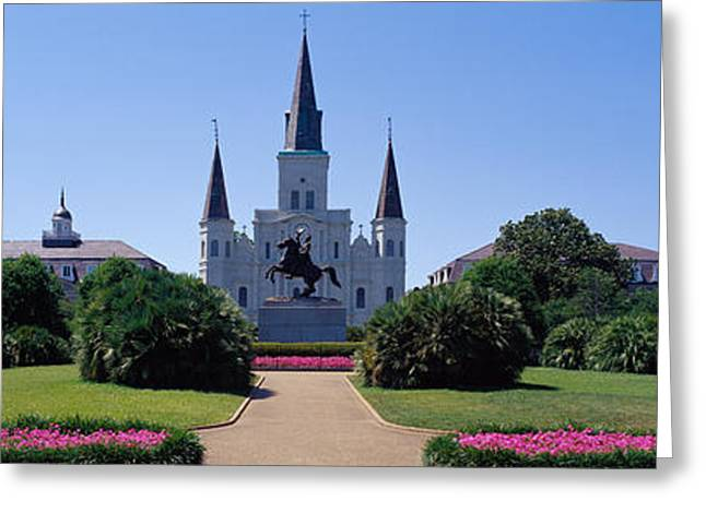 Big Easy Greeting Cards - St Louis Cathedral Jackson Square New Greeting Card by Panoramic Images