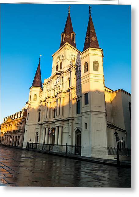 Louisiana Greeting Cards - St. Louis Cathedral kissed by the morning sun Greeting Card by Andy Crawford