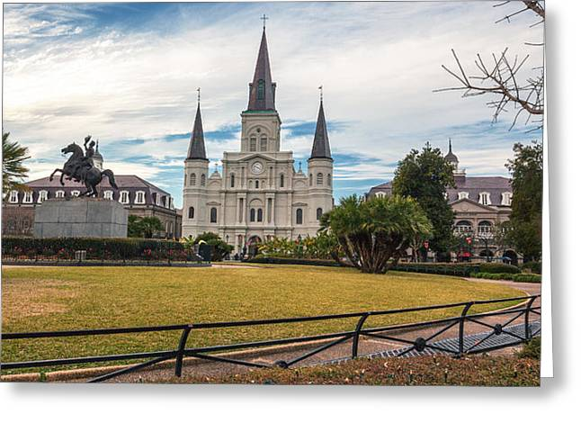 Crescent City Greeting Cards - St. Louis Cathedral Pano Greeting Card by Chris Moore