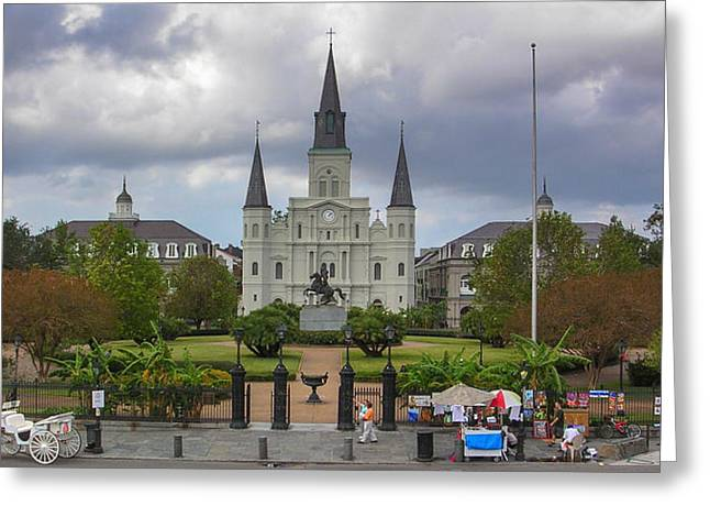 St. Louis Cathedral Greeting Cards - St. Louis Cathedral VIa Greeting Card by Chris Moore