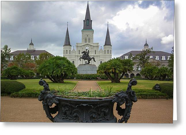 St. Louis Cathedral Greeting Cards - St. Louis Cathedral VIe Greeting Card by Chris Moore