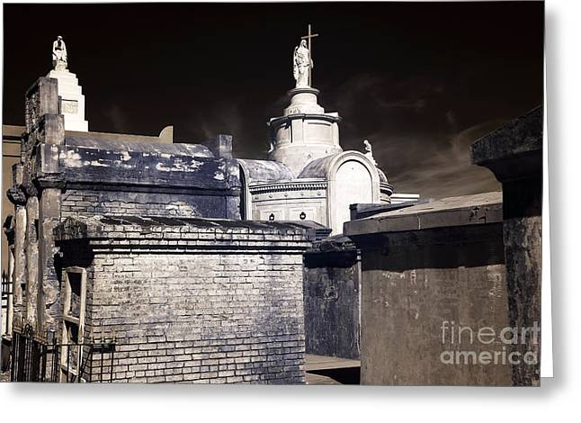 St. Louis Artist Greeting Cards - St. Louis Cemetery No. 1 infrared Greeting Card by John Rizzuto