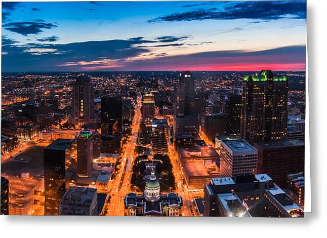 St Louis City At Night Greeting Card by Semmick Photo