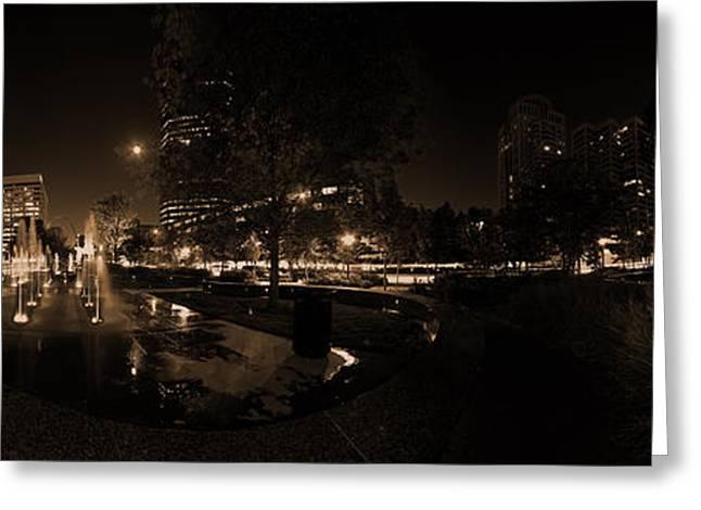 St. Louis City Garden Night - Sepia Greeting Card by David Coblitz