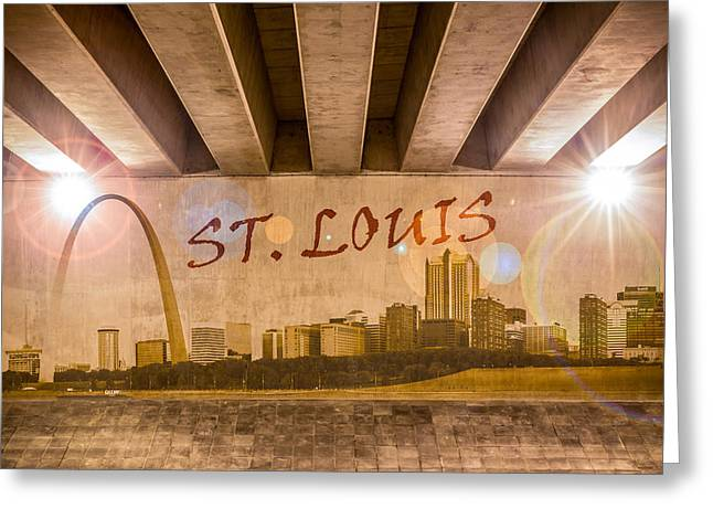 Industrial Concept Greeting Cards - St. Louis Graffiti Skyline Greeting Card by Semmick Photo