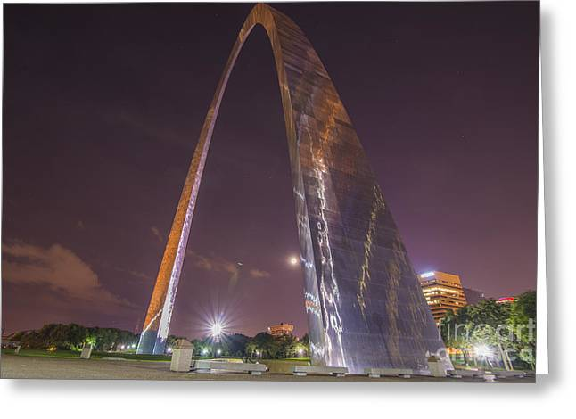 Stan Musial Greeting Cards - St. Louis Missouri Gateway Arch Night 9422 Greeting Card by David Haskett