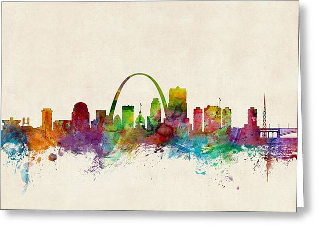 Silhouettes Digital Art Greeting Cards - St Louis Missouri Skyline Greeting Card by Michael Tompsett