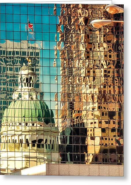Renaissance Buildings Greeting Cards - St. Louis Old Courthouse Reflected Greeting Card by Jon Woodhams