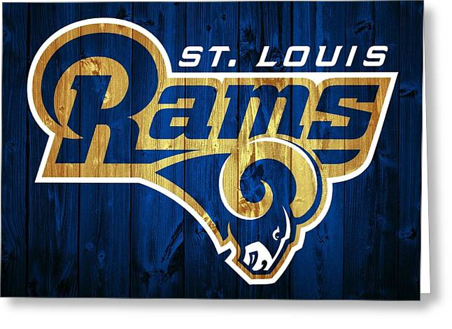 Domes Mixed Media Greeting Cards - St. Louis Rams Barn Door Greeting Card by Dan Sproul