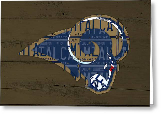 Missouri Mixed Media Greeting Cards - St Louis Rams Football Team Retro Logo Recycled Missouri License Plate Art Greeting Card by Design Turnpike