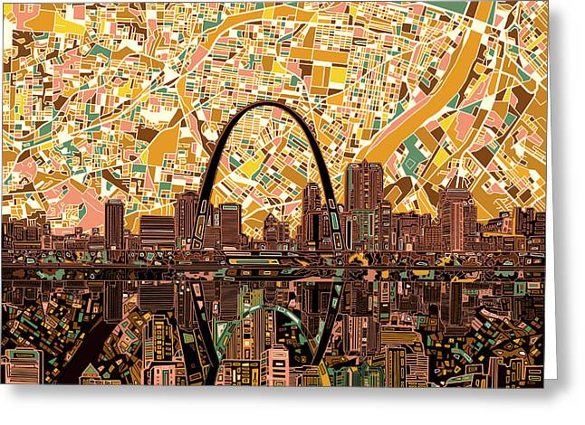 Abstract Digital Greeting Cards - St Louis Skyline Abstract 11 Greeting Card by MB Art factory