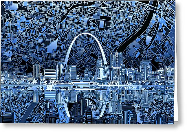 Abstract Digital Greeting Cards - St Louis Skyline Abstract 5 Greeting Card by MB Art factory