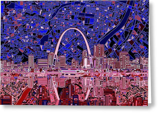 Abstract Digital Greeting Cards - St Louis Skyline Abstract 6 Greeting Card by MB Art factory