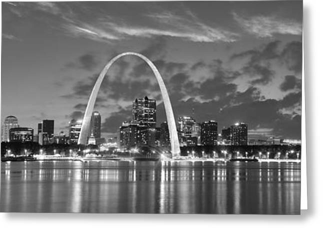 White River Scene Greeting Cards - St. Louis Skyline at Dusk Gateway Arch Black and White BW Panorama Missouri Greeting Card by Jon Holiday