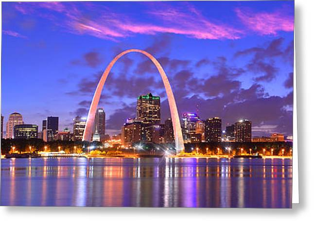 Mississippi River Scene Greeting Cards - St. Louis Skyline at Dusk Gateway Arch Color Panorama Missouri Greeting Card by Jon Holiday