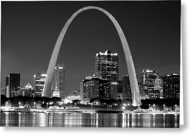 Mississippi River Scene Greeting Cards - St. Louis Skyline at Night Gateway Arch Black and White BW Panorama Missouri Greeting Card by Jon Holiday