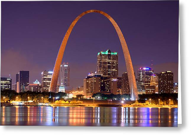 Arch Greeting Cards - St. Louis Skyline at Night Gateway Arch Color Panorama Missouri Greeting Card by Jon Holiday