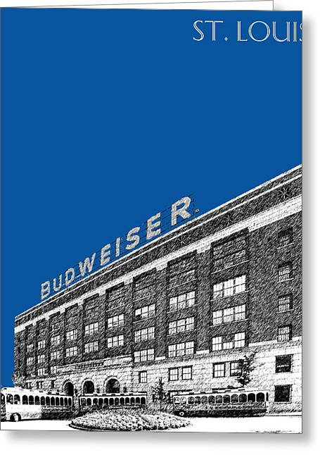 St Louis Skyline Budweiser Brewery - Royal Blue Greeting Card by DB Artist