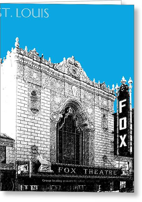 St Louis Missouri Greeting Cards - St louis Skyline Fox Theater - Ice Blue Greeting Card by DB Artist