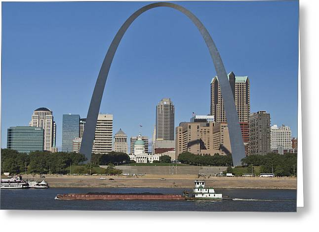 Skyline Arch Greeting Cards - St Louis skyline Greeting Card by Garry McMichael
