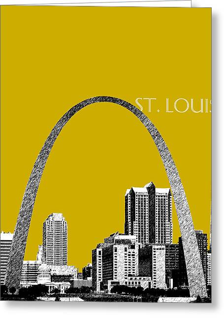 Gateway Arch Greeting Cards - St Louis Skyline Gateway Arch - Gold Greeting Card by DB Artist