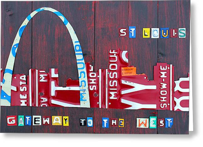 Road Trip Greeting Cards - St. Louis Skyline License Plate Art Greeting Card by Design Turnpike