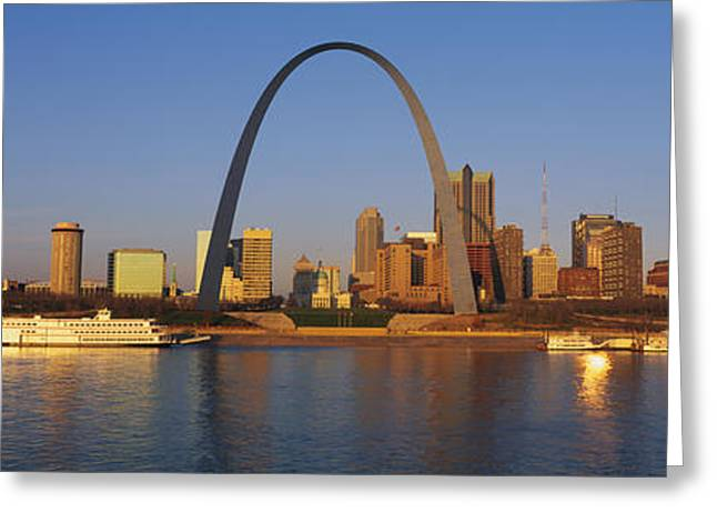 Riverboats Greeting Cards - St. Louis Skyline Greeting Card by Panoramic Images