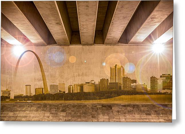 Industrial Concept Greeting Cards - St. Louis Skyline Greeting Card by Semmick Photo