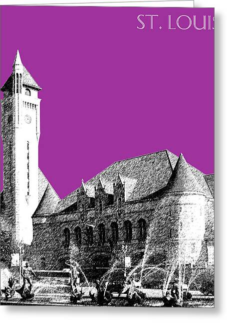 St Louis Missouri Greeting Cards - St Louis Skyline Union Station - Plum Greeting Card by DB Artist
