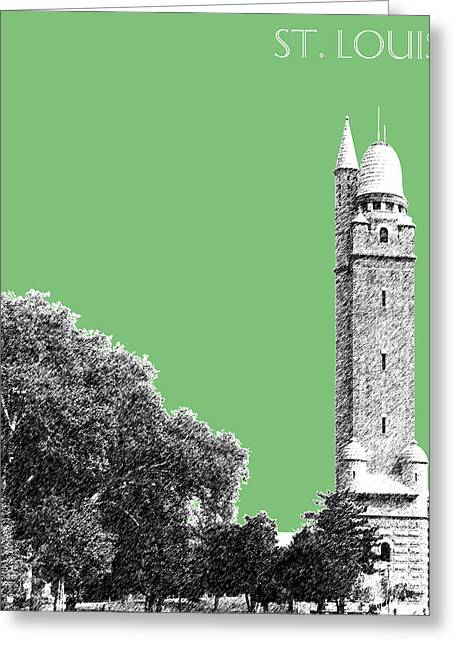 St Louis Missouri Greeting Cards - St Louis Skyline Water Tower - Apple Greeting Card by DB Artist