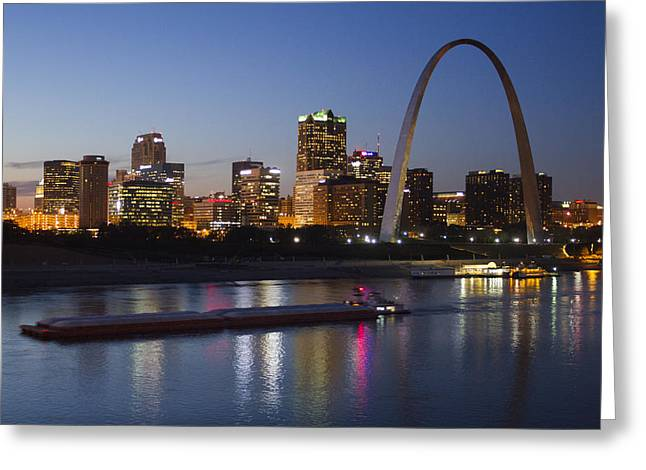 Jefferson National Expansion Memorial Greeting Cards - St Louis skyline with barges Greeting Card by Garry McMichael