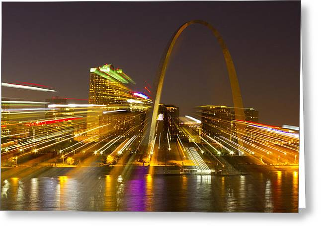 Jefferson National Expansion Memorial Greeting Cards - St Louis skyline with special zoom effect Greeting Card by Garry McMichael