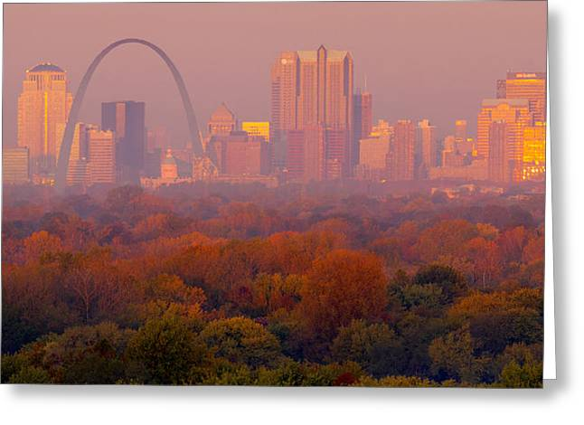 Skyline Pyrography Greeting Cards - St Louis Sunrise Greeting Card by Garry McMichael