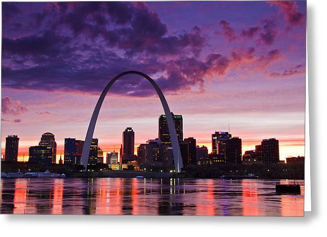 National Memorial Greeting Cards - St Louis Sunset Greeting Card by Garry McMichael