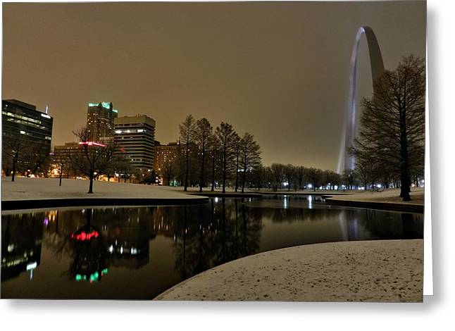 Jefferson National Expansion Memorial Greeting Cards - St. Louis - Winter at the Arch 005 Greeting Card by Lance Vaughn