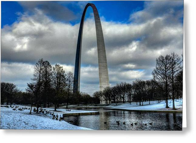 Water Fowl Greeting Cards - St. Louis - Winter at the Arch 011 Greeting Card by Lance Vaughn