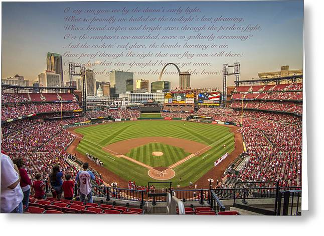 Boys Of Summer Greeting Cards - St. LouisCardinals Busch Stadium National Anthem Greeting Card by David Haskett