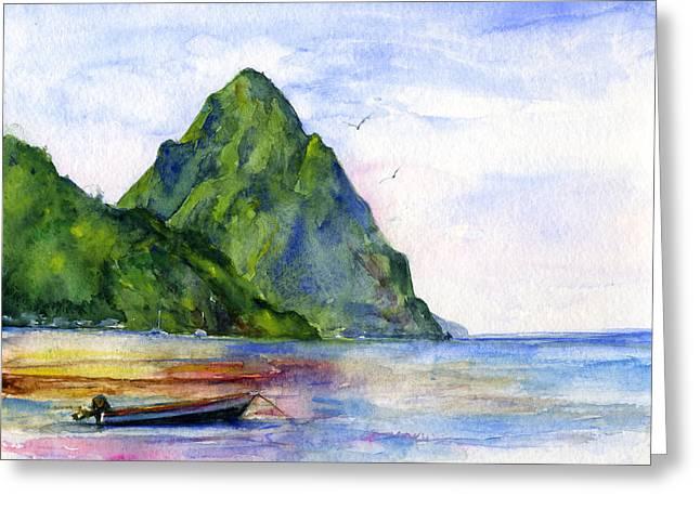 Caribbean Island Greeting Cards - St. Lucia Greeting Card by John D Benson