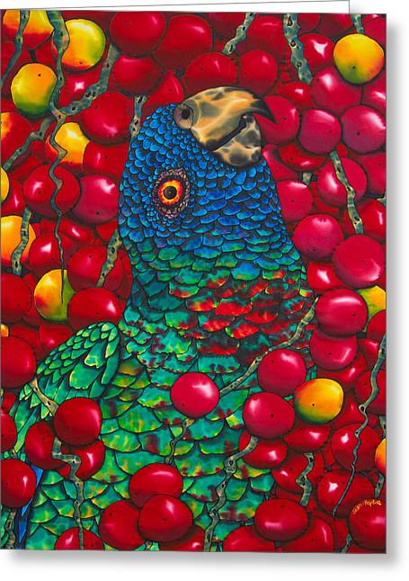 Print On Canvas Tapestries - Textiles Greeting Cards - St. Lucia Parrot Greeting Card by Daniel Jean-Baptiste