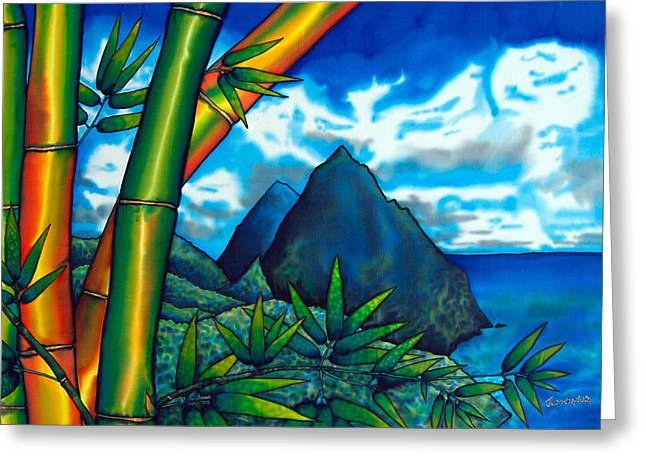 Caribbean Sea Tapestries - Textiles Greeting Cards - St. Lucia Pitons Greeting Card by Daniel Jean-Baptiste