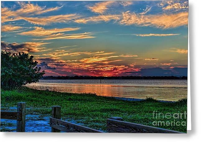 St. Lucie River Greeting Cards - St Lucie River Sunset Greeting Card by Olga Hamilton