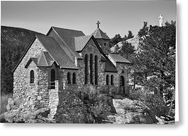 Chapel On The Rock Photographs Greeting Cards - St Malo Chapel On the Rock Colorado BW Greeting Card by James BO  Insogna