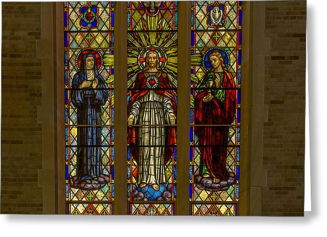 Religious Art Photographs Greeting Cards - St Margarets Stained Glass Greeting Card by Chris Bordeleau