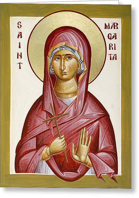 St Margaret Paintings Greeting Cards - St Margarita Greeting Card by Julia Bridget Hayes