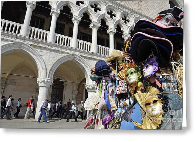 St Mark Square By Doges Palace Greeting Card by Sami Sarkis